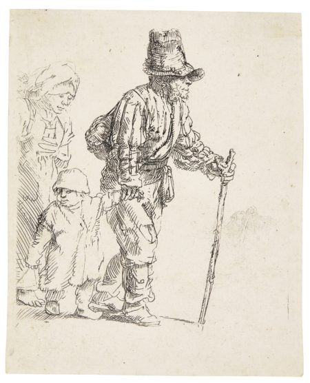 Rembrandt van Rijn-Peasant Family On The Tramp (B. Holl. 131; New Holl. 266; H. 259); Beggar with a Wooden Leg (B., Holl. 179; New Holl. 72; H. 12)-1652