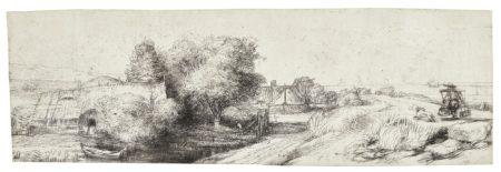 Rembrandt van Rijn-View Of The Diemerdijk With A Milkman And Cottages ('Het Melkboertje') (B. Holl. 213; New Holl. 255; H. 242)-1650