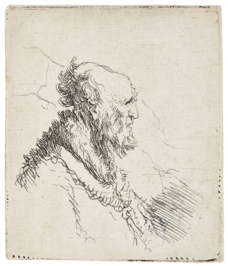 Rembrandt van Rijn-Old Man With A Flowing Beard: Bust; And Bald Old Man With A Short Beard In Profile Right (B. Holl. 315 306; New Holl. 83 147; H. 48 136)-1635