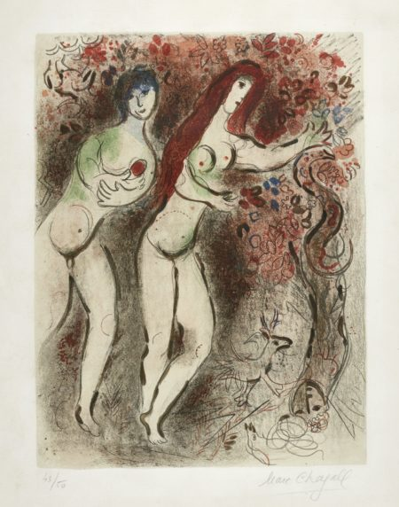 Marc Chagall-Adam And Eve And The Forbidden Fruit (M. 235)-1959