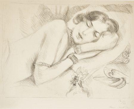 Henri Matisse-Figure Endormie Aux Babouches (Duthuit 512)-1929