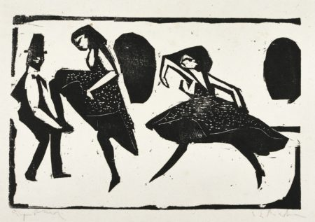 Ernst Ludwig Kirchner-Akrobatischer Tanz. - Tanzgruppe Mann Maskiert (Gercken 436; Dube H.180)-1910