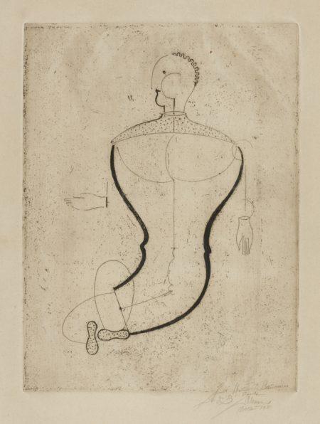 Oskar Schlemmer-Abstrakte Figur Nach Links (Figur 'S') (Grohmann Gr 1)-1923