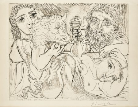 Pablo Picasso-Minotaure Buveur Et Femmes (B. 200; Ba. 368)-1933