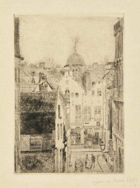 James Ensor-Rue Du Bon SecoursÀ Bruxelles; Maison Du Boulevard Anspach; LeRÉVerbÈRe; HÔTel De Ville D'Audenaerde (D. T. E. 17; 20; 21; 28)-1888