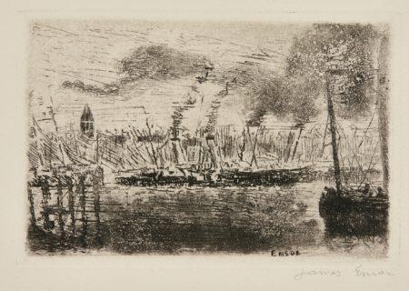 James Ensor-Estacade;Vue DeNieuport; And Bateaux À Vapeur(D. T. E.14 30 64)-1889