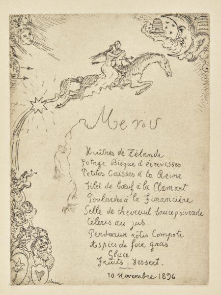 James Ensor-Menu Pour Ernest Rousseau; And Menu Pour Charles Vos(D. T.109 110; E. 111 112)-1896