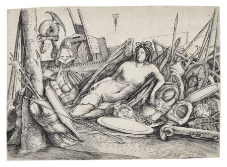 Jacopo de Barbari-Victory Reclining Amid Trophies (Bartsch 23; Hind 22)-1498