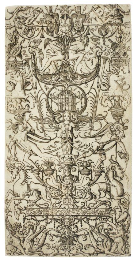 Nicoletto da Modena-Ornament Panel With Bound Slaves And A Birdcage (B. Vol. Xxv 56; B. Vol. Xxv Commentary 92; H. Vol. V. 105)-