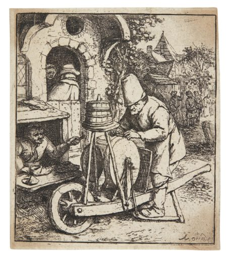 Adriaen van Ostade-The Smoker; The Barn; The Woman Spinning; The Knife Grinder (Hollstein Godefroy 5 23 31 36)-1682