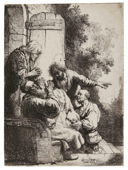 Rembrandt van Rijn-Joseph'S Coat Brought To Jacob (B. Holl. 38; New Holl. 122; H.104)-1633