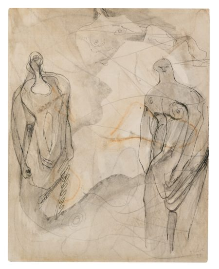 Henry Moore-One Reclining And Two Standing Figures-1932