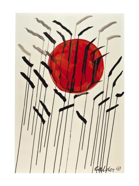 Alexander Calder-Cattails with Red Sun-1969