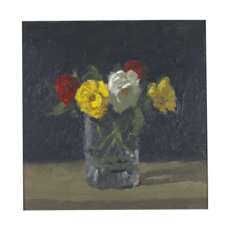 Robert Kulicke-Full Roses in a Glass Vase with a Dark Background-1981