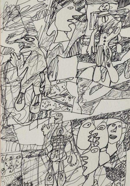 Jean Dubuffet-Paysage avec effigies et personnages-1980