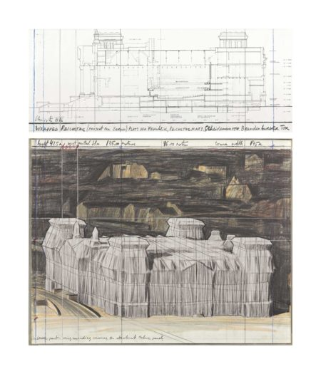 Christo and Jeanne-Claude-Wrapped Reichstag (project for Berlin)-1986
