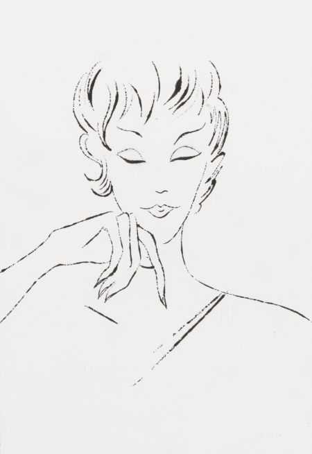 Andy Warhol-Female Head With Hand On Chin-1955