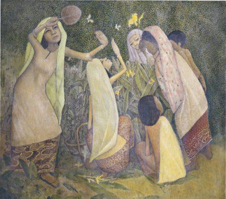 Cheong Soo Pieng-Untitled (Catching Butterflies)-1982