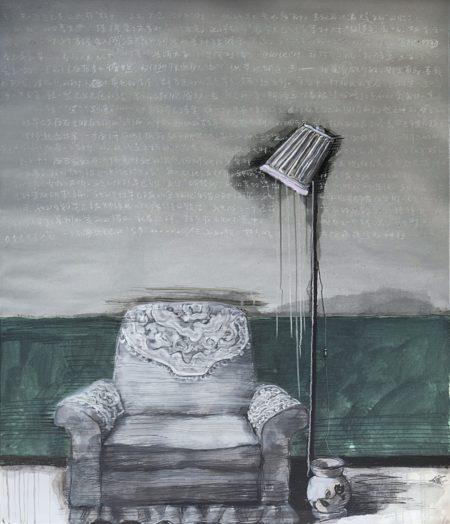 Zhang Xiaogang-Green Wall: Sofa No.2-2009
