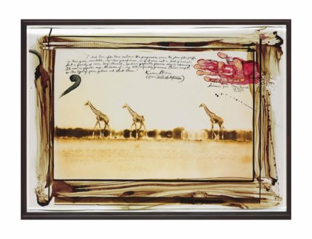 Peter Beard-Giraffes in Mirage on the Taru Desert, Kenya, June 1960-1960