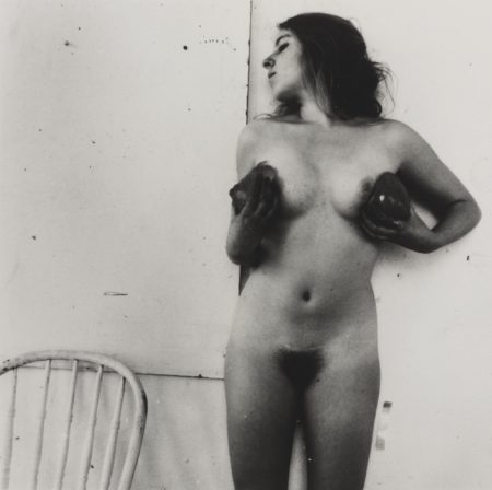 Francesca Woodman-Untitled Providence Rhode Island (Self-Portrait Nude Cupping Her Chest)-1976