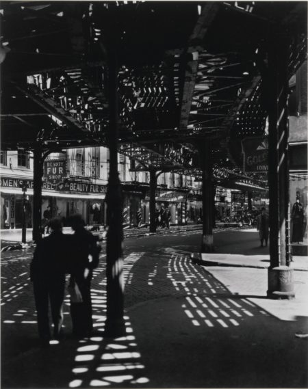 Berenice Abbott-Selected Images From The Retrospective Portfolio (comprising 'El, 2nd and 3rd Avenue Lines'; 'Newsstand, 32nd Street and Third Avenue'; 'Bread Store, 259 Bleecker Street'; and 'American Shops, New Jersey')-1954