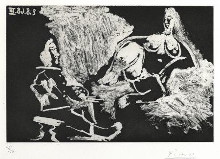 Pablo Picasso-Peintre avec un Modèle à demi Allongé, pl. 234, from La Séries 347 (B. 1714; Ba. 1731)-1968