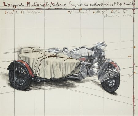 Christo and Jeanne-Claude-Wrapped Motorcycle/Sidecar, Project for Harley Davidson 1933 VL Model (S. & K. 176)-1997