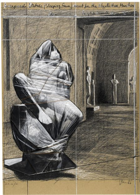 Christo and Jeanne-Claude-Wrapped Statues, Sleeping Faun, Project for the Glyptothek, Munich (S. & K. 183)-2001