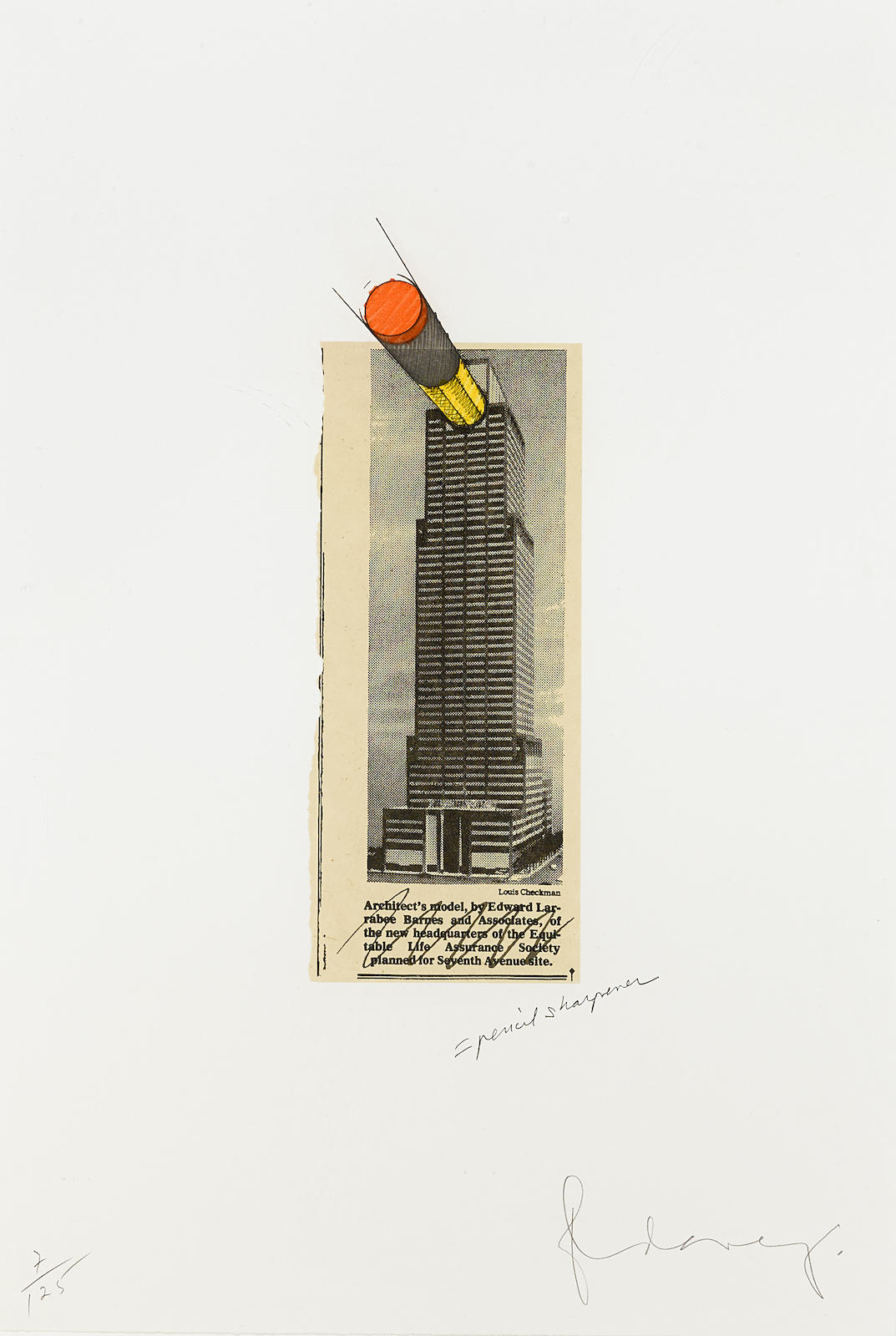 Claes Oldenburg-Equitable Building as a Pencil Sharpener (A./P. 255)-1995