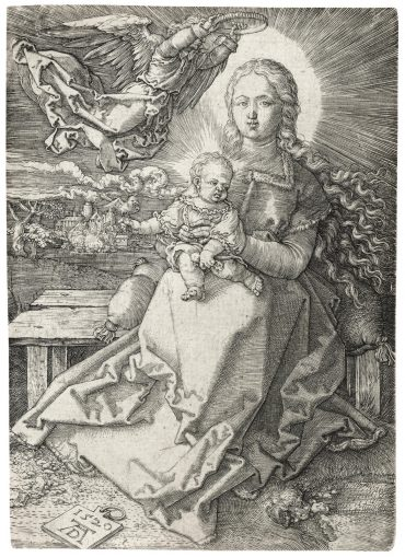 Albrecht Durer-The Virgin and Child crowned by one Angel (B. 37; M., Holl. 41)-1520