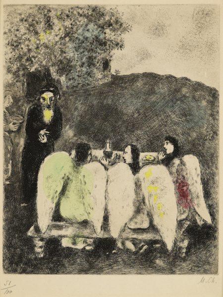Marc Chagall-Abraham et les trois Anges, pl. 7, from La Bible (V. 205; C. bk. 30)-1939