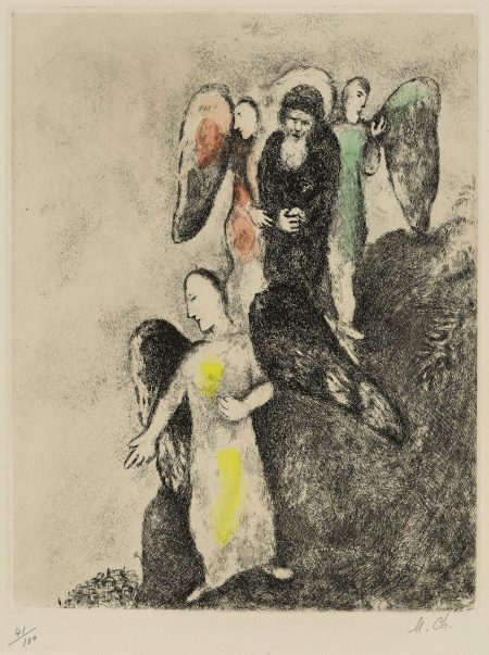 Marc Chagall-La descente vers Sodome, pl. 8, from La Bible (V. 206; C. bk. 30)-1939
