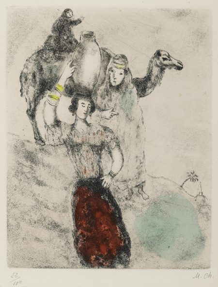 Marc Chagall-Rebecca à la fontaine, pl. 10, from La Bible (V. 209; C. bk. 30)-1939