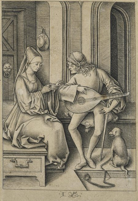 Israhel van Meckenem the Younger-The Singer and the Lute Player, from Scenes of Daily Life (B. 174; G. 418; L., Holl. 506)-1495