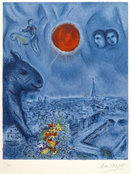 Marc Chagall-After Marc Chagall - Paris Sun (M. CS. 48)-1977