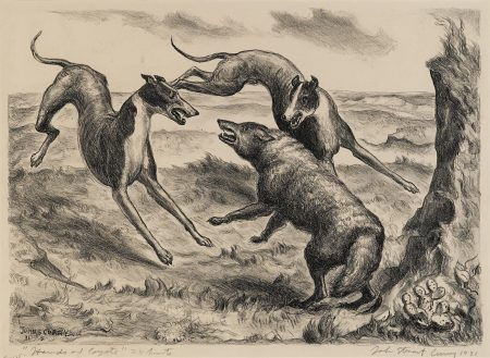 John Steuart Curry-Hounds and Coyote (C. 12)-1931
