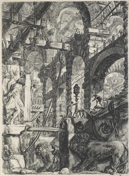 Giovanni Battista Piranesi-A Perspective of Roman Arches with Two Lions Carved in Relief on Stone Slabs in the Foreground, pl. 5, from Carceri d'invenzione (WE. 30; H. 5; R. 44)-1760