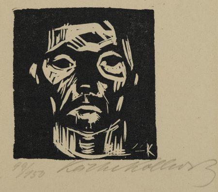 Kathe Kollwitz-Kleiner Männerkopf ohne Hände (Arbeiterkopf)-1922