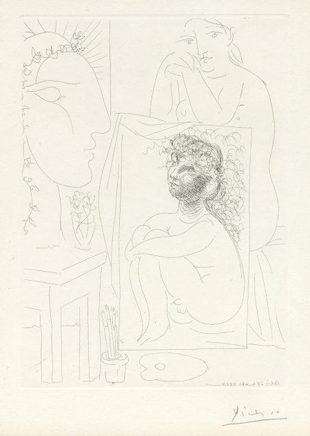 Pablo Picasso-Modèle accoudé sur un Tableau, pl. 43, from La Suite Vollard (B. 151; Ba. 303)-1933