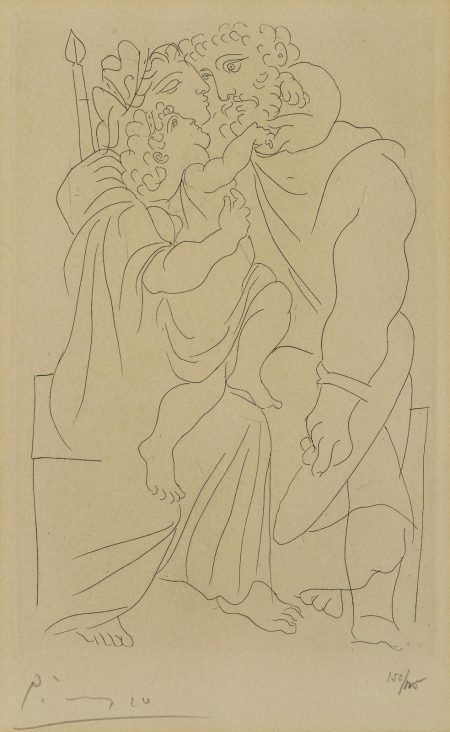Pablo Picasso-Couple et Enfant, pl. 1, from Lysistrata (B. 268; Ba. 388; C. bk. 24)-1934