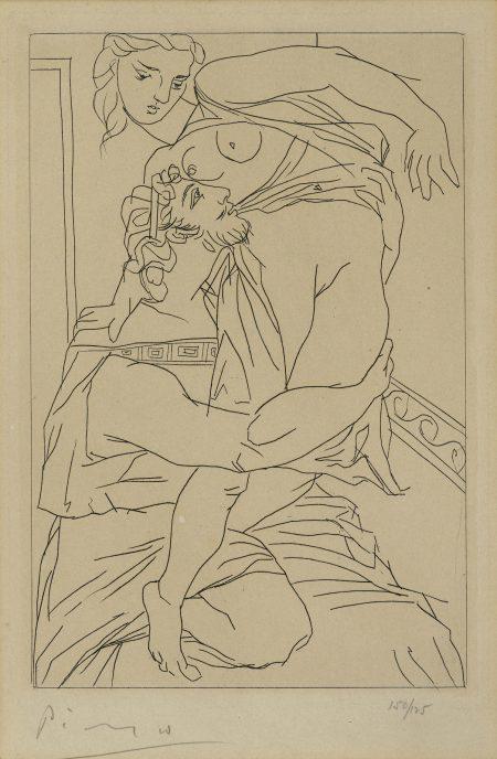 Pablo Picasso-Cinésias et Myrrhine, pl. 3, from Lysistrata (B. 269; Ba. 389; C. bk. 24)-1934