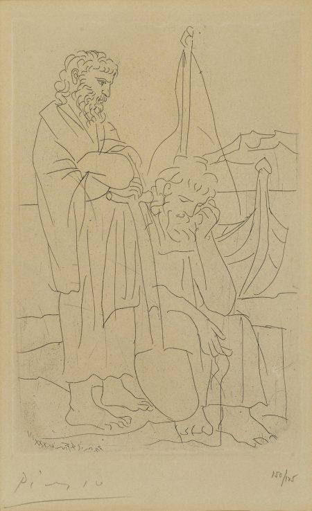 Pablo Picasso-Deux Vieillards et Voilier, pl. 4, from Lysistrata (B. 270; Ba. 390; C. bk. 24)-1934