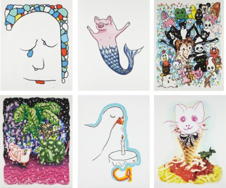 Urs Fischer-Stonewaller; Cakesniffer; Pet Parade; Goodnight; Spaghetti Cat; and Pigmaid-2015