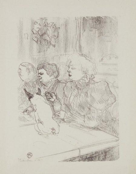 """Henri de Toulouse-Lautrec-A la souris - Madame Palmyre (In the Cabaret """"La Souris (The Mouse) - Mrs. Palmyre)-1897"""