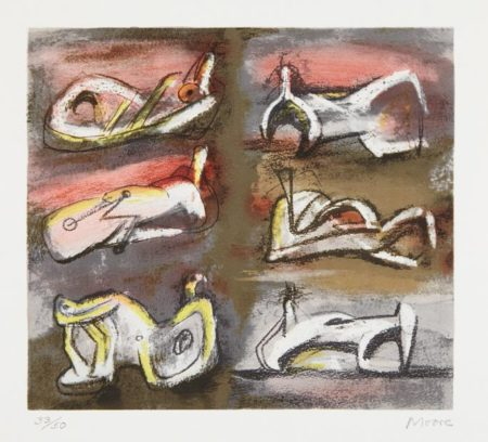 Henry Moore-Six Reclining Figures with Red Background-1981