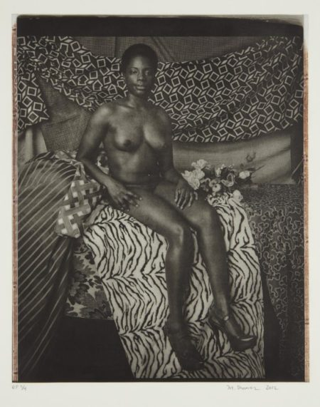Mickalene Thomas-Portrait of Marie Sitting in Black and White-2012