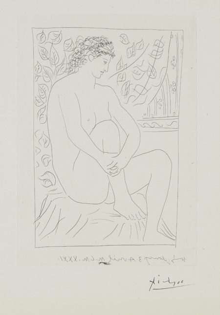 Pablo Picasso-Femme nue assise devant un rideau (Nude Woman Sitting in Front of a Curtain), plate 4 from La suite Vollard-1939