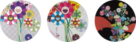 Takashi Murakami-Even The Digital Realm Has Flowers to Offer; Purple Flowers in A Bouquet; and Kansei: Fresh Blood-2014
