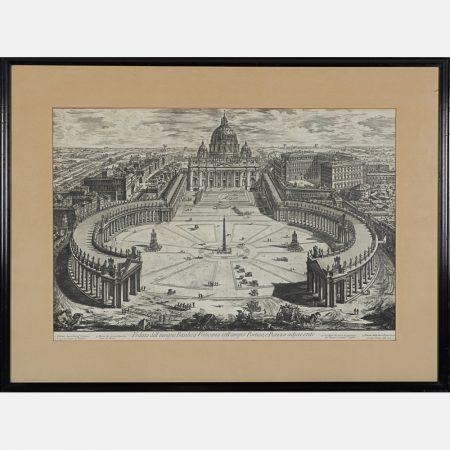 Giovanni Battista Piranesi-Veduta dell'insigne Basilica Vaticana Coll'ampio Portico e Piazza Adjacente-